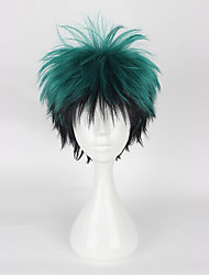 cheap -Synthetic Wig Straight Asymmetrical Haircut Synthetic Hair 4 inch Cosplay Green Wig Men's Short Capless Green