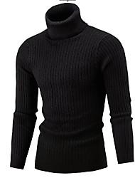 Недорогие -Муж. Повседневные Активный Однотонный Длинный рукав Тонкие Обычный Пуловер, Хомут Красный / Бежевый / Серый L / XL / XXL
