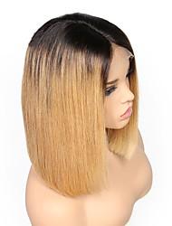 Недорогие -Натуральные волосы Лента спереди Парик Бразильские волосы Бирманские волосы Прямой Парик Стрижка боб Средняя часть 130% Плотность волос / с детскими волосами / с детскими волосами