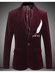 저렴한 -남성용 일상 가을 보통 블레이져, 프린트 셔츠 카라 긴 소매 폴리에스테르 네이비 블루 / 와인 / 카키 XL / XXL / XXXL