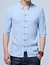 Недорогие -мужской плюс размер льна / хлопчатобумажная рубашка - сплошной цветной подставка
