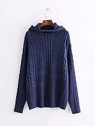 Недорогие -Жен. Повседневные Однотонный Длинный рукав Обычный Пуловер Синий / Коричневый S / M / L