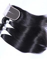 Недорогие -3 комплекта с закрытием Индийские волосы Прямой 10A 100% Remy Hair Weave Bundles Волосы Уток с закрытием 14 дюймовый Нейтральный Ткет человеческих волос Расширения человеческих волос Жен.