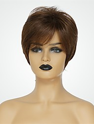 baratos -Perucas de cabelo capless do cabelo humano Cabelo Humano Natural Straight Corte Pixie Riscas Naturais Marrom Curto Fabrico à Máquina Peruca Mulheres