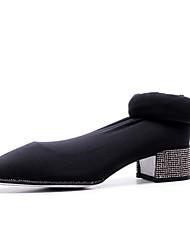 Недорогие -Жен. Эластичная ткань Зима Милая / Минимализм Ботинки На толстом каблуке Заостренный носок Бедро высокие сапоги Черный