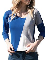 Недорогие -женская футболка - цветной блок v шея