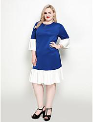 hesapli -Kadın's Büyük Bedenler Parti Çalışma Vintage Zarif A Şekilli Kombinezon Kılıf Elbise - Zıt Renkli, Fırfırlı Midi Mavi & Beyaz
