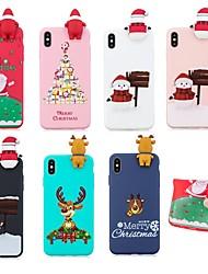 Недорогие -Кейс для Назначение Apple iPhone XS / iPhone XS Max С узором Кейс на заднюю панель Рождество Мягкий ТПУ для iPhone XS / iPhone XR / iPhone XS Max