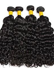 billige -4 pakker Brasiliansk hår Vand Bølge Jomfruhår Menneskehår, Bølget Bundle Hair Én Pack Solution 8-28inch Naturlig Farve Menneskehår Vævninger Nuttet Moderigtigt Design Gave Menneskehår Extensions Dame