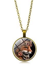 رخيصةأون -نسائي قديم قلادة خمر - مطلي بالفضة, مطلية بالذهب ذئب أنيق, عتيق, Steampunk ذهبي, أسود, فضي 50 cm قلادة مجوهرات 1PC من أجل هدية, مناسب للبس اليومي
