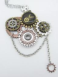 Недорогие -Жен. Заявление ожерелья - Шестерня Массивный, Steampunk Cool Серебряный 56+5 cm Ожерелье Бижутерия 1шт Назначение Карнавал, Профессиональный стиль
