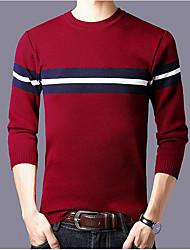 tanie -Męskie Codzienny Frędzel Kolorowy blok Długi rękaw Regularny Pulower Czarny / Czerwony / Szary L / XL / XXXL