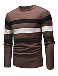 tanie -Męskie Codzienny Frędzel Solidne kolory Długi rękaw Regularny Pulower Brązowy / Granatowy / Szary XL / XXL / XXXL