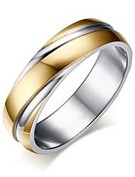 Недорогие -Муж. Кольцо Кольца Грув 1шт Золотой Титановая сталь Простой Подарок Праздники Бижутерия Классический Двухцветные