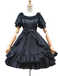 Недорогие -Sweet Lolita Элегантный стиль Лето Платья Девочки Мужской органза Японский Косплей костюмы Белый / Черный Однотонный Рукав-лепесток С короткими рукавами До колена