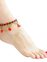 ราคาถูก -สำหรับผู้หญิง ถัก สร้อยข้อมือข้อเท้า - โลลิต้าแบบคลาสสิก เครื่องประดับ ขาว / แดง / ฟ้า สำหรับ ทุกวัน