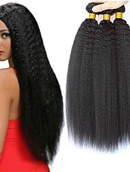 ieftine -3 pachete Păr Peruvian Yaki Straight 8A Păr Natural Neprocesat Accesoriu de Păr Umane tesaturi de par Extensii 8-28 inch Culoare naturală Umane Țesăturile de par Viață Cosplay O noua sosire Umane