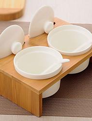 baratos -Latas de tempero rack de cozinha vasilhas armazenamento tempero coleção com bandeja de madeira de bambu conjunto 200 ml / twg0031 pode