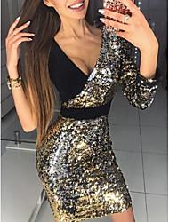 baratos -Mulheres Elegante Delgado Calças Preto / Decote em V Profundo