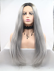 cheap -Synthetic Lace Front Wig kinky Straight Dark Gray Layered Haircut Grey 130% Density Synthetic Hair 26 inch Women's Women Dark Gray / Black Wig Medium Length Lace Front Sylvia / Yes