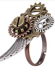 رخيصةأون -نسائي لون القهوة فينتاج خاتم - مسننة Steampunk قابل للتعديل ذهبي من أجل مناسب للبس اليومي مناسب للعطلات