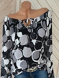 billige -Dame - Geometrisk Trykt mønster T-shirt