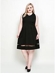 hesapli -Kadın's Büyük Bedenler Parti sofistike Zarif A Şekilli Little Black Çan Elbise - Solid, Örümcek Ağı V Yaka Diz-boyu