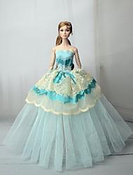 Недорогие -Платья Платье Для Barbiedoll Прозрачно-зелёный Тюль / Кружево / Шелково-шерстяная ткань Платье Для Девичий игрушки куклы