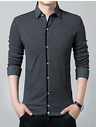 Недорогие -Муж. Большие размеры - Рубашка Однотонный / Длинный рукав