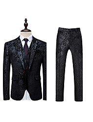 cheap Blazers & Suits-Men's Party / Daily Spring &  Fall Plus Size Regular Suits, Floral Peaked Lapel Long Sleeve Cotton / Acrylic / Polyester Black 4XL / XXXXXL / XXXXXXL