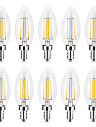 abordables -YWXLIGHT® 10pcs 4 W 300-400 lm E14 Ampoules Bougies LED / Ampoules à Filament LED C35 4 Perles LED COB Intensité Réglable Blanc Chaud / Blanc 220-240 V