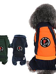 Недорогие -Собаки / Коты Комбинезоны Одежда для собак В полоску Оранжевый / Темно-синий / Темно-зеленый Хлопок Костюм Для домашних животных Универсальные Английский