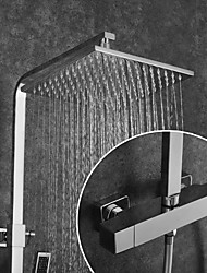 Недорогие -Смеситель для душа / Ванная раковина кран - Современный Хром На стену Медный клапан Bath Shower Mixer Taps / Латунь / Две ручки двумя отверстиями