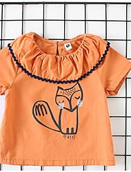 billige -Baby Jente Grunnleggende Daglig Ensfarget Langermet Normal Bomull / Polyester Bluse Oransje