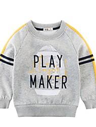 billige -Baby Gutt Grunnleggende Trykt mønster Langermet Polyester Hettegenser og sweatshirt Mørkegrå