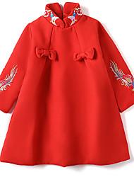 tanie -Brzdąc Dla dziewczynek Wzornictwo chińskie Codzienny Zwierzę Długi rękaw Sukienka Czerwony