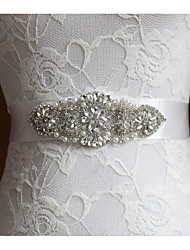 cheap -Poly / Cotton Blend Wedding / Special Occasion Sash With Faux Pearl / Crystals / Rhinestones Women's Sashes