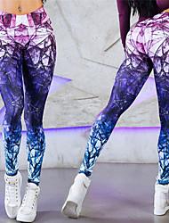 Недорогие -Жен. Штаны для йоги Лиловый Виды спорта 3D-печати С высокой талией Леггинсы Zumba Бег Фитнес Спортивная одежда Дышащий Впитывает пот и влагу Подтяжка Эластичность Обтягивающие / Зима