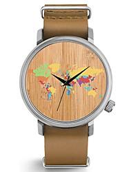 Недорогие -Для пары Наручные часы Японский Кварцевый Натуральная кожа Материал ремешка Черный / Коричневый Секундомер Очаровательный Творчество Аналоговый Кольцеобразный Цветной -  / Два года / Два года
