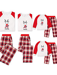 Недорогие -Семейный вид Однотонный / Геометрический принт Длинный рукав Набор одежды