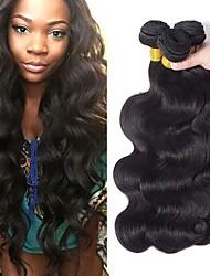 Недорогие -3 Связки Бразильские волосы Евро-Азиатские волосы Естественные кудри 8A Натуральные волосы Необработанные натуральные волосы Подарки Косплей Костюмы Головные уборы 8-28 дюймовый Естественный цвет