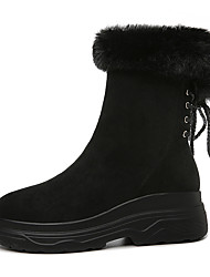 Недорогие -Жен. Искусственный мех / Микроволокно Зима Ботинки На плоской подошве Круглый носок Сапоги до середины икры Черный