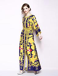 hesapli -Kadın's Parti Kumsal Boho Kılıf Elbise - Geometrik, Desen Derin V Midi
