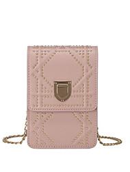baratos -Mulheres Bolsas PU Telefone Móvel Bag Ziper Branco / Preto / Rosa