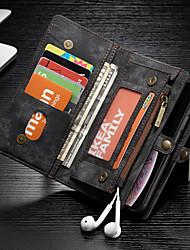 Недорогие -CaseMe Кейс для Назначение Apple iPhone XR Кошелек / Бумажник для карт / Защита от удара Чехол Однотонный Твердый Кожа PU для iPhone XR