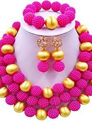 Недорогие -Жен. Многослойность Комплект ювелирных изделий - Мода Включают Струнные ожерелья Синий / Розовый / Ярко-розовый Назначение Свадьба