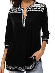 Недорогие -Жен. Большие размеры - Рубашка Глубокий V-образный вырез Классический Однотонный / Геометрический принт Лиловый