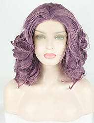 cheap -Synthetic Lace Front Wig Body Wave / Deep Curly Purple Free Part Purple 180% Density Synthetic Hair 14 inch Women's Fashionable Design / Soft / Adjustable Purple Wig Short Lace Front / Heat Resistant