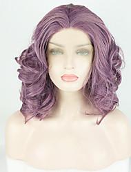 Χαμηλού Κόστους -Συνθετικές μπροστινές περούκες δαντέλας Κυματομορφή Σώματος / Deep Curly Μωβ Ελεύθερο μέρος Μωβ 180% Ανθρώπινο πυκνότητα των τριχών Συνθετικά μαλλιά 14 inch Γυναικεία / Δαντέλα Μπροστά
