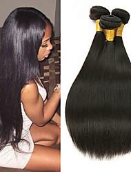 billige -3 Bundler malaysisk hår Lige Ubehandlet / Menneskehår Gaver / Cosplay Kostumer / Menneskehår, Bølget 8-28 inch Naturlig Farve Menneskehår Vævninger Maskinproduceret Simple / Design / Sej Menneskehår